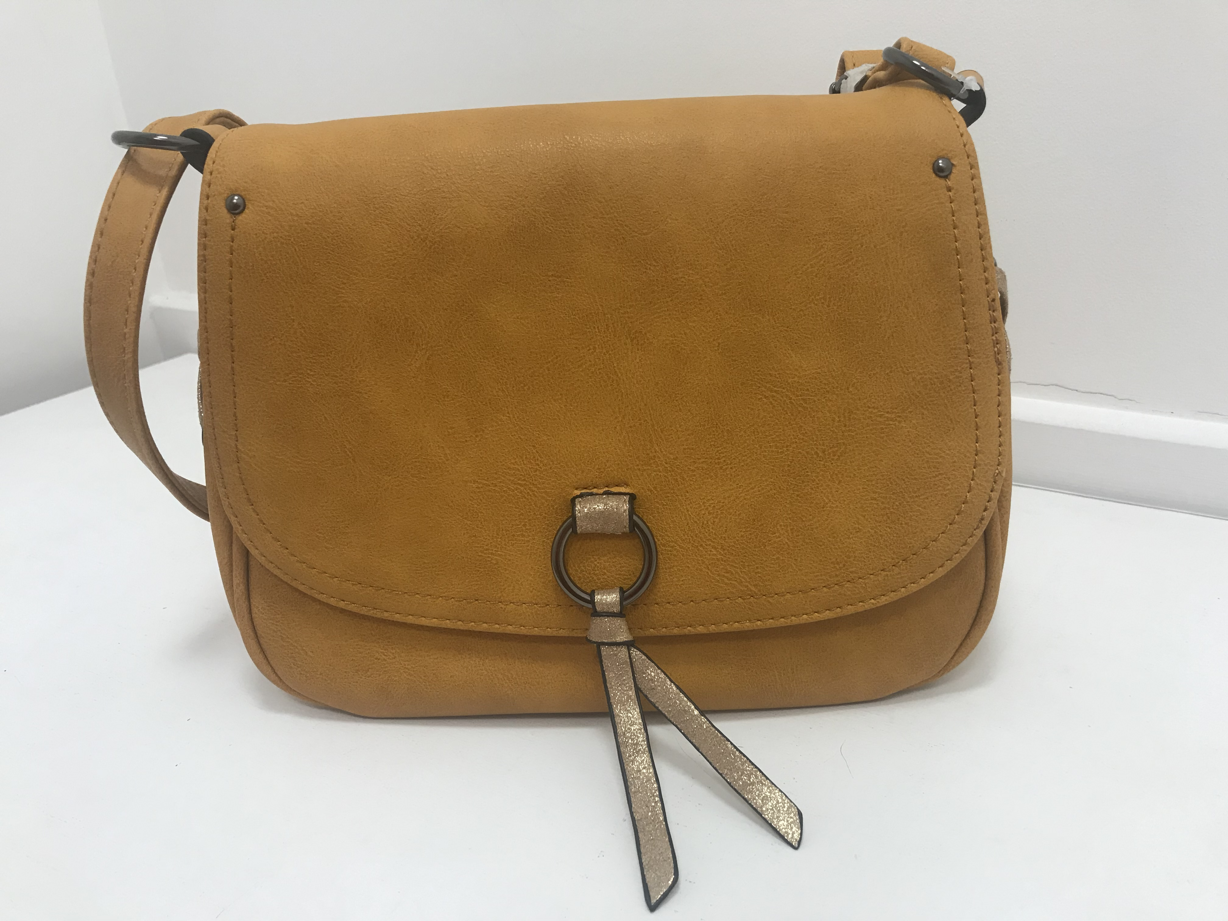 Mustard Saddle Bag. Also Available in Navy and Brown.
