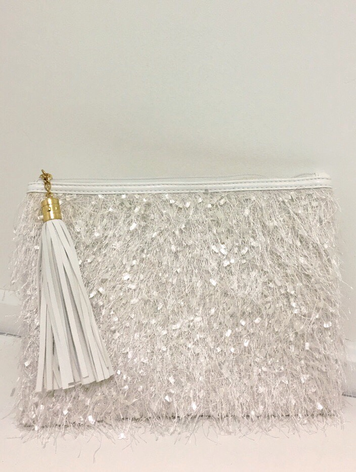Styline Furry Fashion Bag with Gold Chain Strap - White