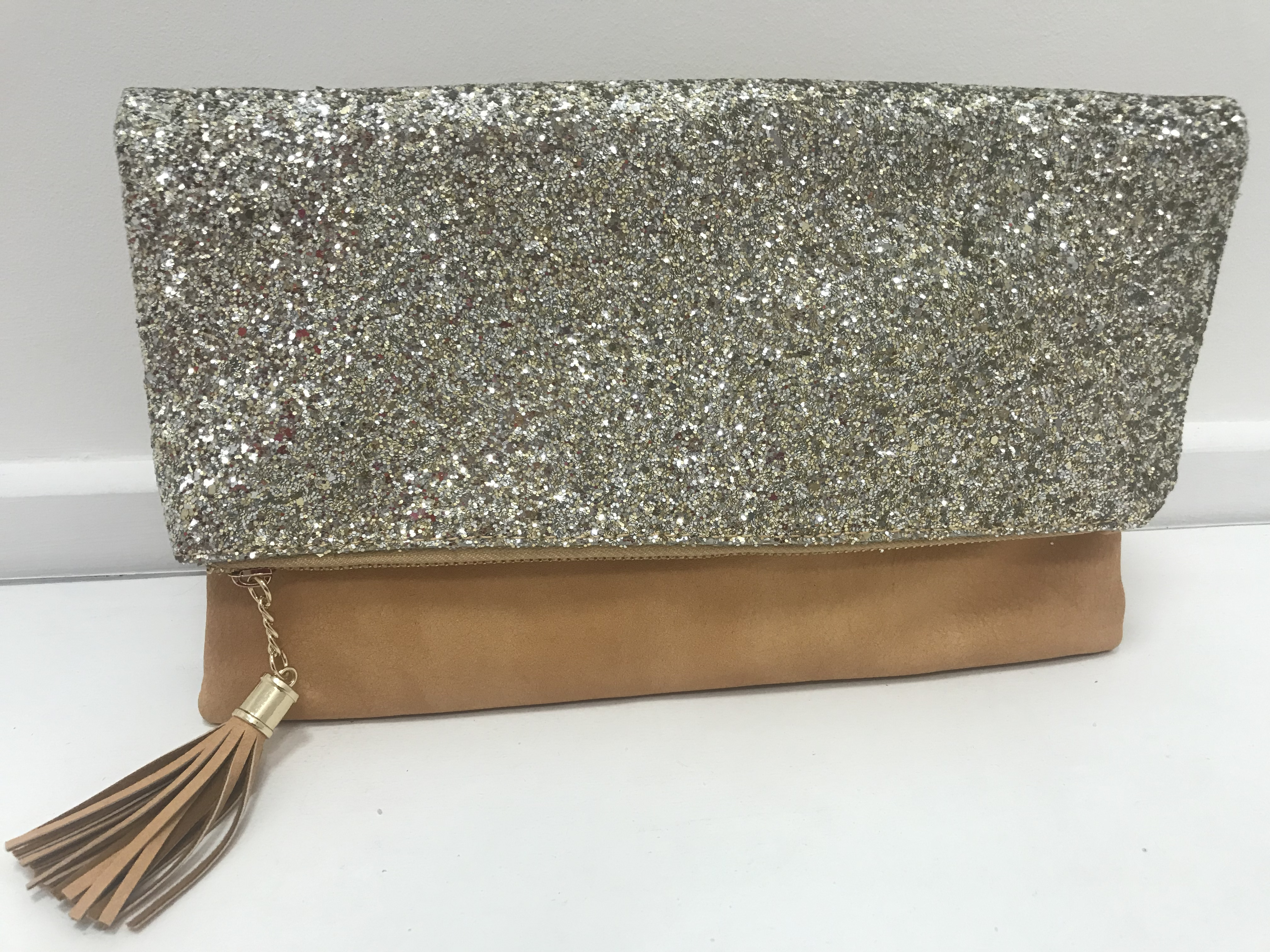 Pale Pink, Sparkly Fold-Out Clutch